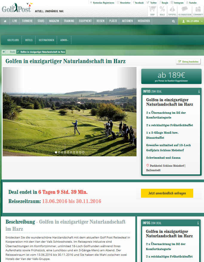 Neu: Der Golf Post Reisedeal. (Foto: Golf Post)
