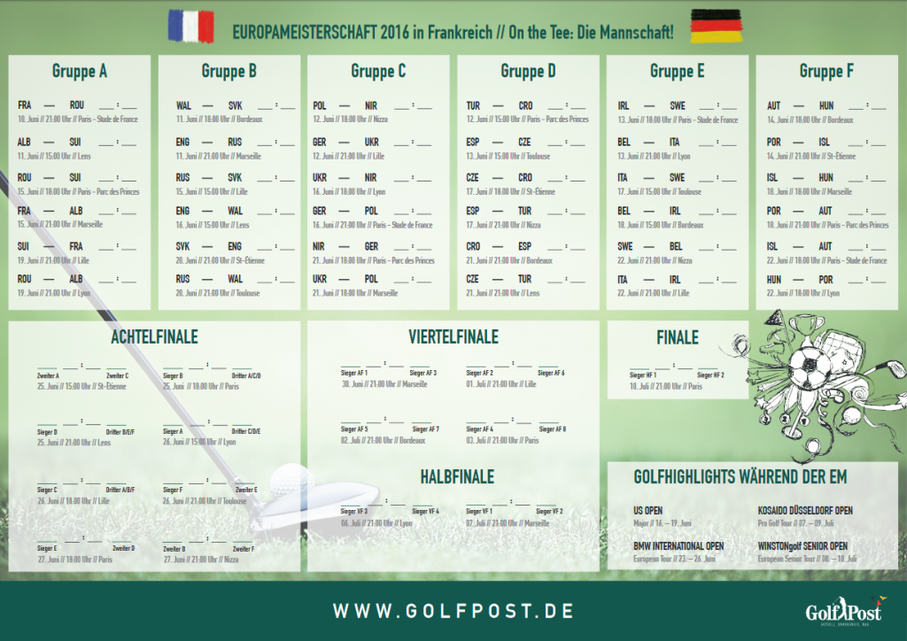 Der Golf Post Spielplan zur Europameisterschaft 2016. (Foto: Golf Post)